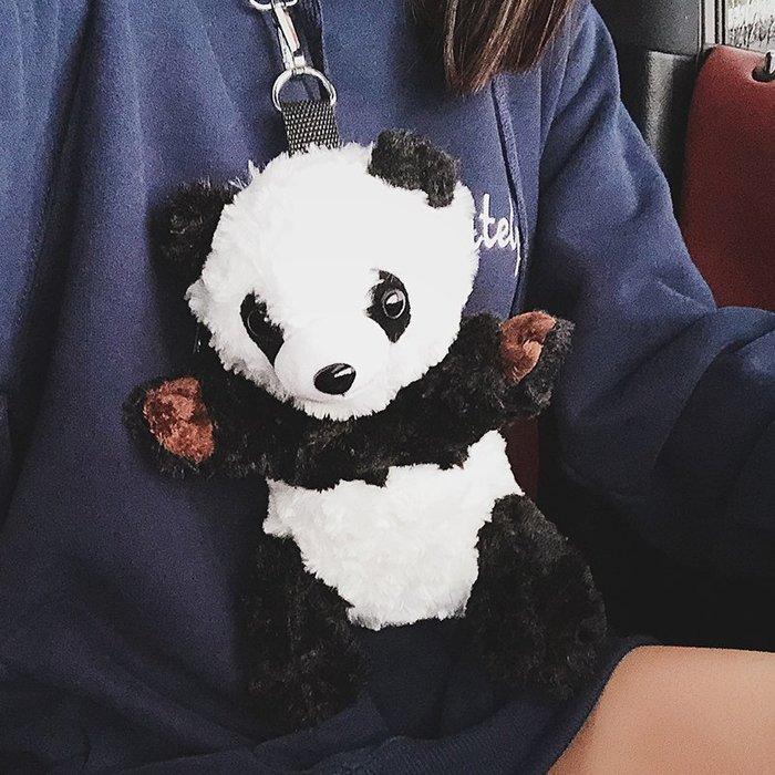 XINXIN女包韓版ins超韓版 時尚新款 日韓系列 迷人包 女生包火小包包女新款百搭熊貓單肩包可愛卡通毛絨斜挎包