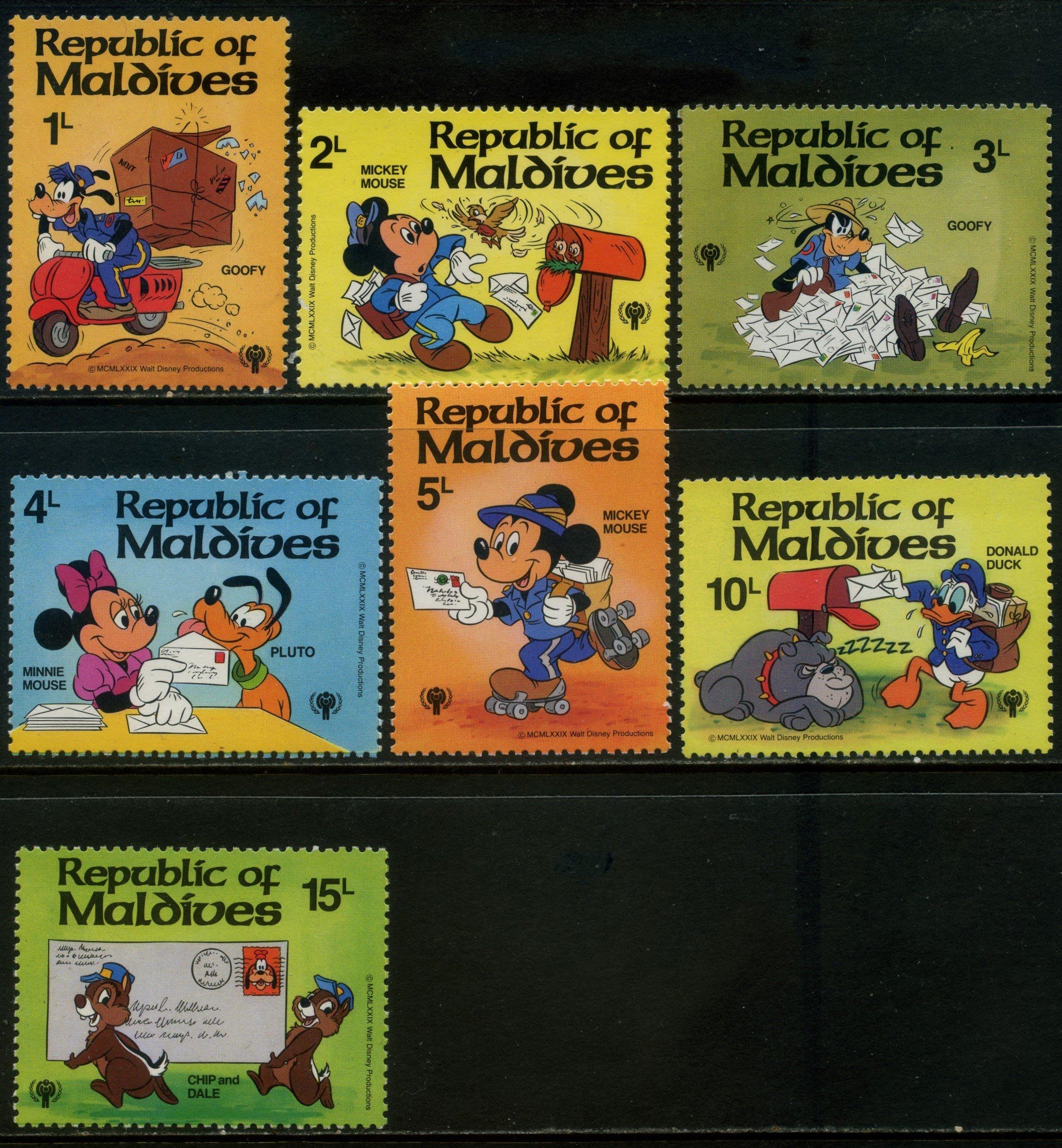 郵紳_27301_馬爾地夫_米老鼠等迪士尼卡通_1979年_原膠新票_美品_背潔無貼_低價起標無底價