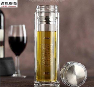 雙層玻璃杯便攜耐熱泡茶杯透明水晶玻璃保溫杯子帶蓋男女商務水杯(420ML) Ac6014