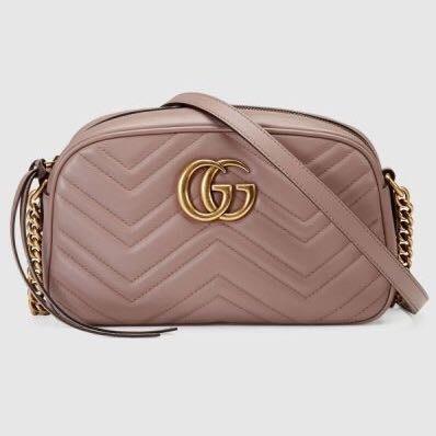*旺角名店* ㊣ Gucci GG Marmont 447632 中款 山形紋藕粉 裸粉色相機包 24 cm 現貨