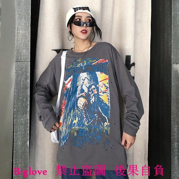 18韓國復古涂鴉搖滾印花深灰色打底長袖T恤 男女款