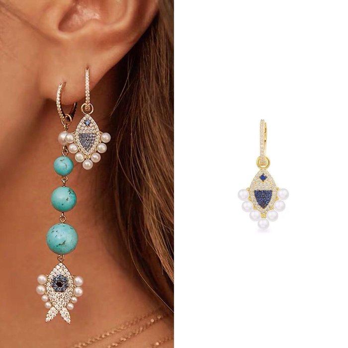 💎1876、APM法式海洋閑適優雅珍珠小魚輕奢耳環(單邊)💎  精品 耳環 輕奢飾品 正韓飾品 925純銀針