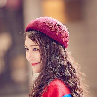 貝雷帽毛呢帽-立體花朵刺繡圓頂女帽子73vt34[獨家進口][米蘭精品]