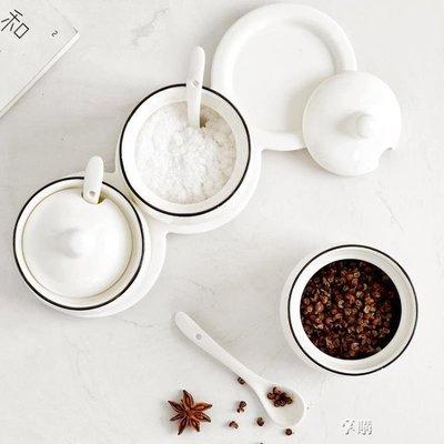 ZIHOPE 調味罐陶瓷調料罐套裝調料盒瓶鹽罐三件組合廚房用品家用簡約ZI812