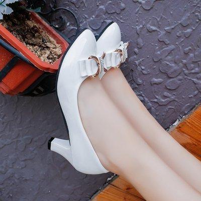 繫帶蝴蝶結高跟鞋甜美淺口單鞋韓版尖頭女鞋子工作鞋