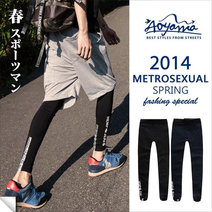 [青山~AOYAMA ] 歐美街頭運動風 反光條印花造型內搭褲 【A88828】權志龍 GD Legging