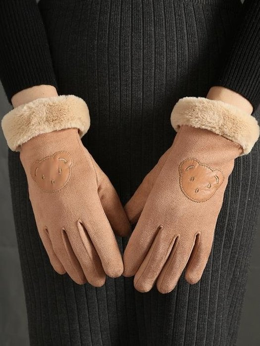 手套女士冬季保暖加絨加厚棉正韓可愛麂皮絨秋冬天騎車騎行可觸屏