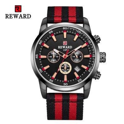 【潮裡潮氣】REWARD迷彩多功能夜光防水運動計時手錶潮流尼龍錶帶戶外徒步登山RD63090M