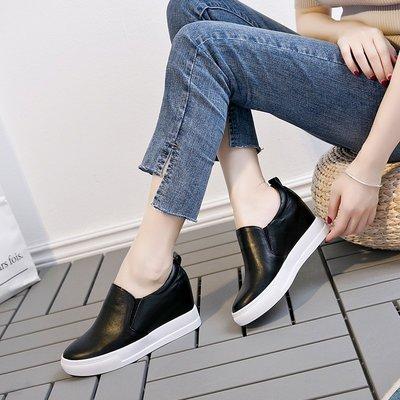 『Alice❤愛麗絲』樂福鞋女厚底真皮內增高小白鞋韓版百搭休閒鞋一腳蹬坡跟夏季單鞋