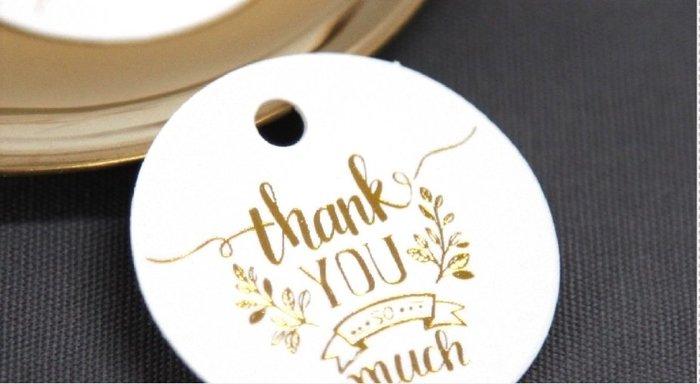 Amy烘焙網:20枚/圓形行奢華燙金thank you裝飾吊卡/包裝吊牌/禮盒包裝/婚禮小物包裝吊卡