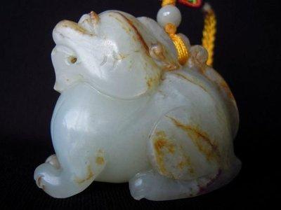 元朝和闐白玉辟邪獸 -法利堂-直購價240000元.保證真品