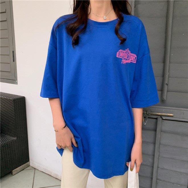 FINDSENSE G6 韓國時尚潮流 2019夏款棉質印花寬鬆短袖中長款T恤女裝上衣T恤