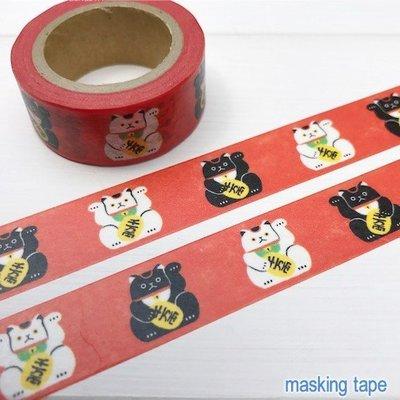 《散步生活雜貨-和紙膠帶》日本製 Mind Wave-Masking Tape 單捲 紙膠帶-93170招財貓