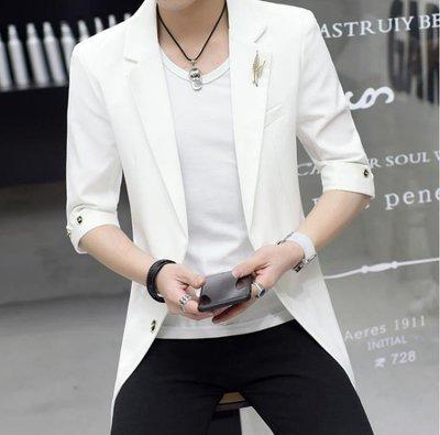 全館免運小西裝男修身中長款夏季七分袖白西服韓版潮流發型師外套中袖男裝 特價促銷