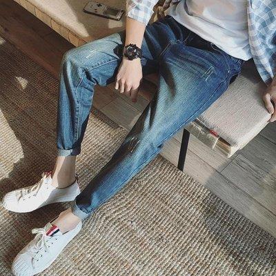 裝新款青年個性破洞男士九分牛仔褲時尚潮褲百搭寬鬆褲子男   全館免運