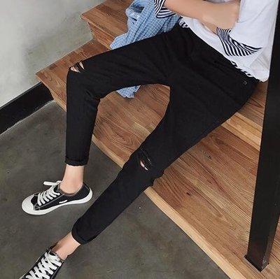 牛仔褲 男士牛仔破洞九分褲小腳褲青少年韓版潮流男學生黑色修身褲子