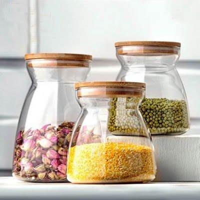 【梯形儲物罐套裝-1大1小-700/1100ml-1套/組】透明玻璃罐食品收納瓶密封罐-7201011