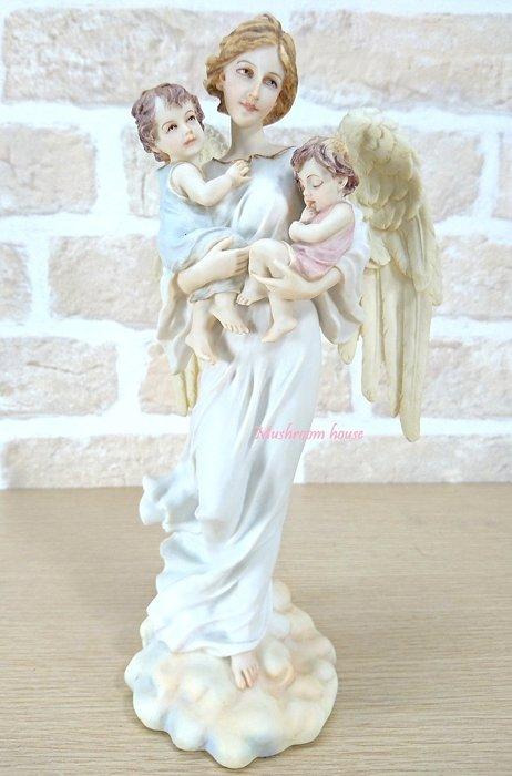 點點蘑菇屋 歐洲精品精美彩繪守護天使抱兩個小孩擺飾 母愛 藝術雕塑 精緻家飾 現貨 免運費
