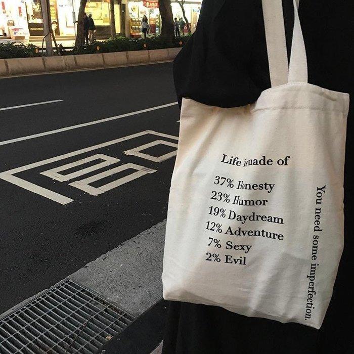 帆布包女單肩包簡約字母購物袋定制布袋包女環保袋帆布袋