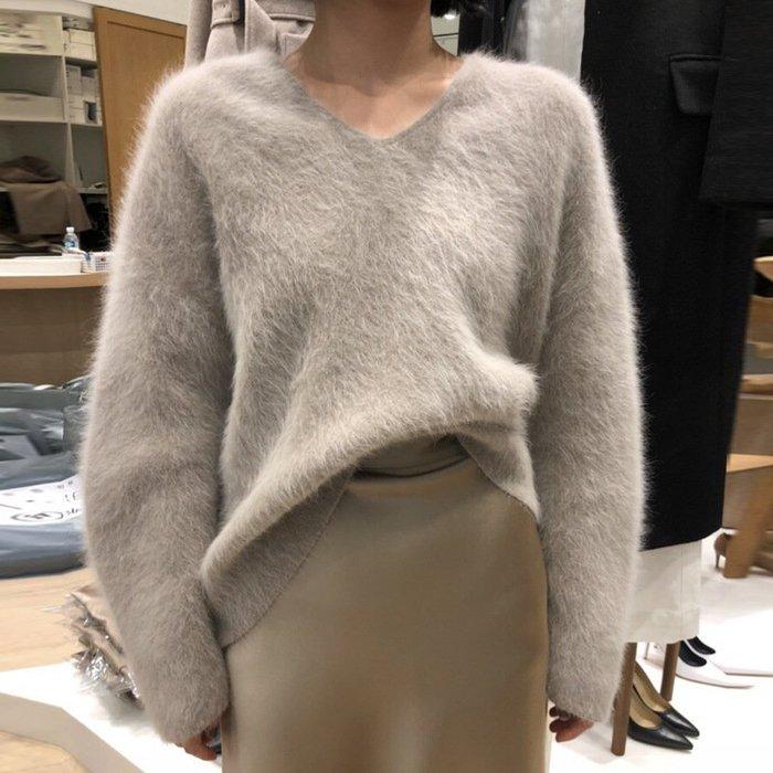 ❤Princess x Shop❤親膚柔軟V領仿貂絨套頭保暖長袖針織衫毛衣TN6-73-32