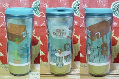 Starbucks星巴克~日本 2009年 夏季限定 藍色綜合冰咖啡隨行杯☆12oz~全新(己絶版)~台北可面交