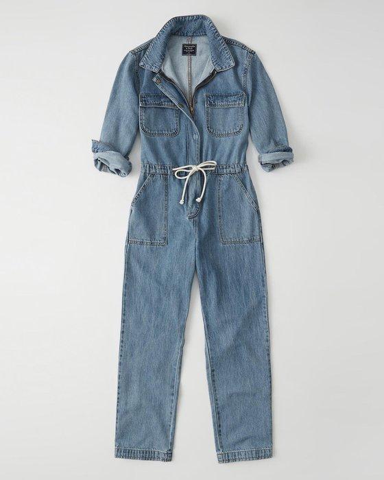 【天普小棧】A&F Abercrombie&Fitch Utility Denim Jumpsuit連身牛仔長褲XS/S