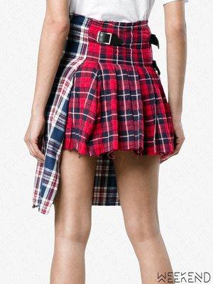 【WEEKEND】R13 不修邊 抽鬚 格紋 雙面穿 兩穿 不對稱 短裙 藍+紅色