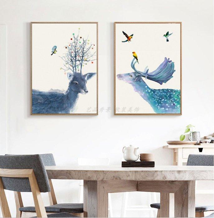 ☺暖暖屋☺傢居藝術館 北歐現代麋鹿風景裝飾畫/掛畫/有框畫/多款樣式/多種尺寸