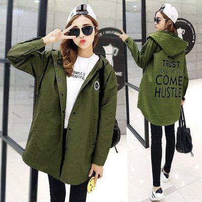 品名: 韓國學生風連帽中長款風衣薄款休閒棉外套(軍綠色) J-13046