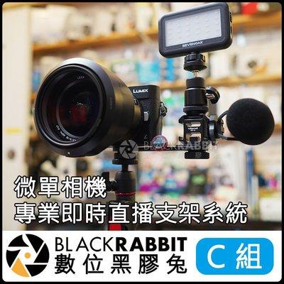 數位黑膠兔【 微單 相機 專業 即時 直播 支架 系統 (C) 】 SK-PL30 錄影 補光燈 外接 麥克風 熱靴