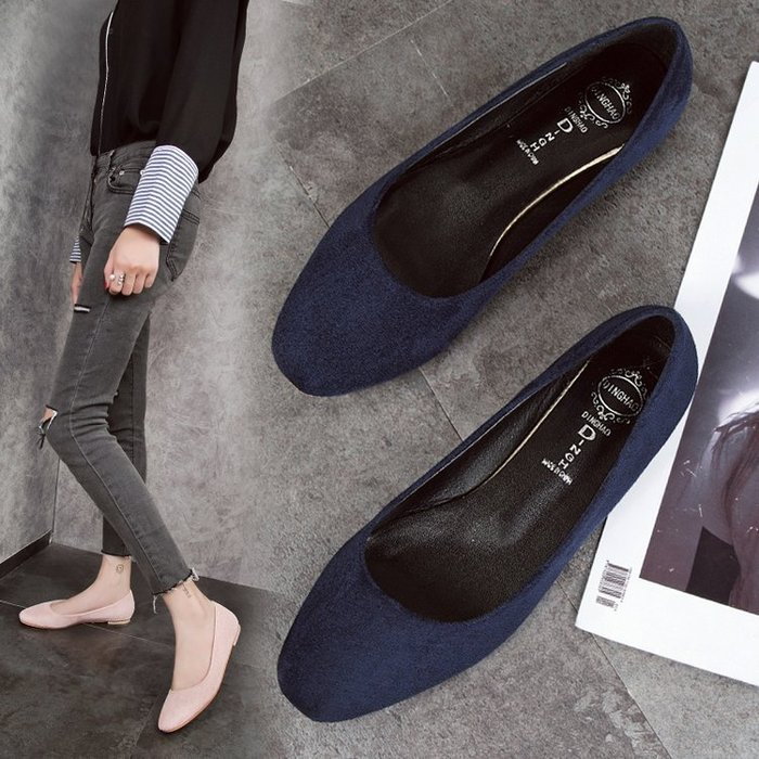 Sarah  2018秋季新款韓版絨面淺口單鞋百搭軟底方頭女鞋一腳蹬平底奶奶鞋