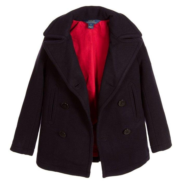 【Polo Ralph Lauren】RL 大男童 羊毛大衣外套 保暖羊毛大衣 西裝外套 大人可穿 深藍色