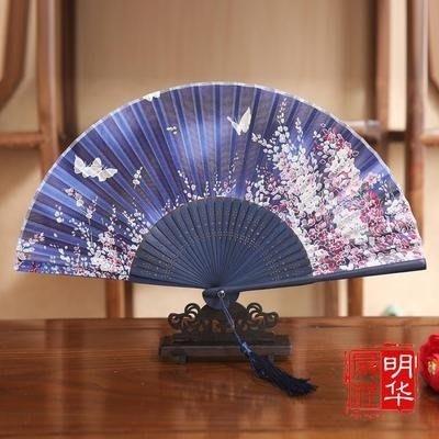 女式真絲折扇 日式古風小折疊扇 中國風工藝禮品走秀古典舞蹈扇子