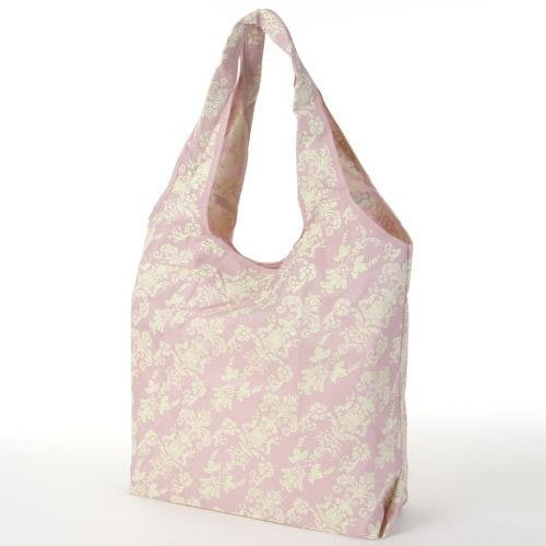 Ariel Wish日本品牌法式歐風典雅蔓藤花紋粉紅色珠鍊吊飾掛飾可折疊攜帶型防潑水環保購物袋2 way環保袋-大款現貨