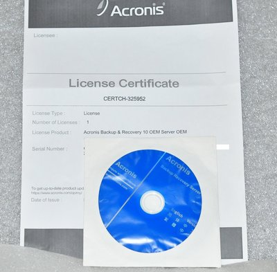 Acronis backup recovery server 10 企業備份軟體 正版序號  - 全新庫存品
