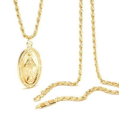美國東村【SOLO】18K金色 天主教聖母項鍊  Immaculate Conception Necklace
