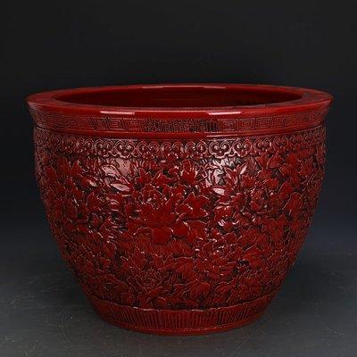 ㊣姥姥的寶藏㊣ 大清乾隆紅釉雕刻浮雕萬花圖瓷缸  官窯仿古瓷器 古玩古董收藏