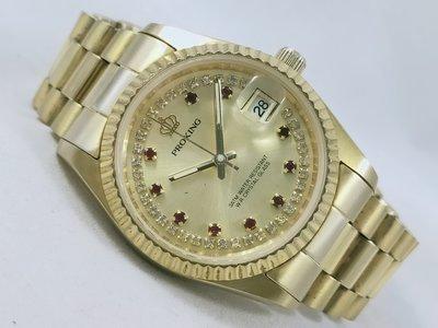 【PR】PROKING 皇冠 金鑽面 鍍金機械 經典男錶