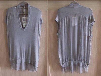 OLIVIA HOPS 淺灰兩件式棉感上衣 義大利名品 義大利製造 全新 原價$8580 美麗異材質拼接