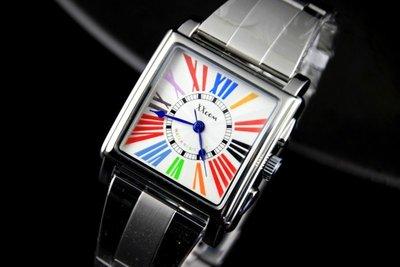 艾曼達精品~xxcom法蘭克木樂款造型七彩羅馬數字不鏽鋼製錶帶石英錶白面日本miyota 2035石英機心