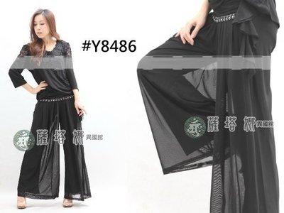 *_薩瓦拉舞衣: M/L/XL_Y8486_腰綴寶石外罩紗寬褲/蟑螂褲