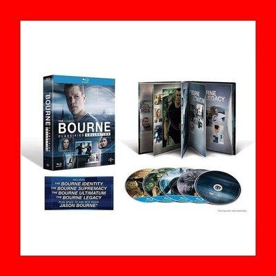 【BD藍光】神鬼認證 1~4集:五碟限定藍光書紀念版The Bourne(台灣繁中字幕)絕地救援麥特戴蒙