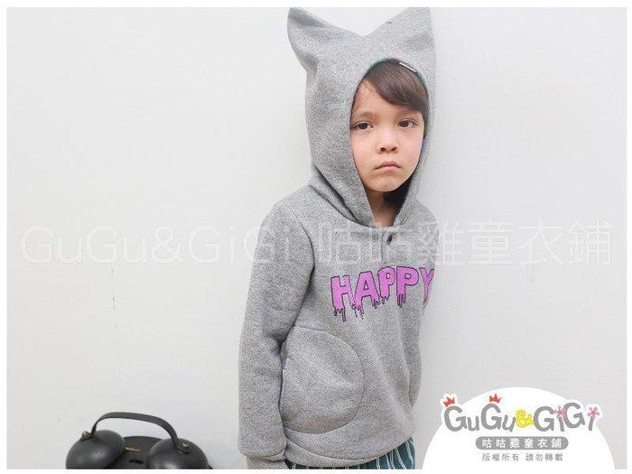 【RB2121604】秋冬款~中性款~HAPPY造型帽灰色連帽上衣$99