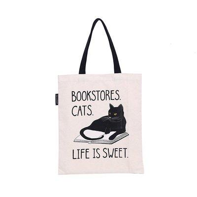 莉迪卡娜~美國Out of Print 文學帆布包 書店的貓 瑜伽 文藝創意單肩包袋