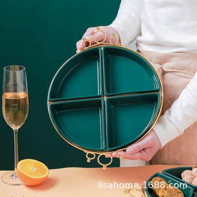 有一間店-新年款創意陶瓷水果盤干果拼盤不銹鋼托盤家用客廳茶幾零食堅果盒(規格不同 價格不同)