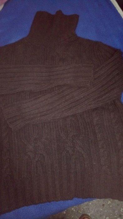 United Colors of Benetton粗針織咖啡色高領羊毛毛衣 M