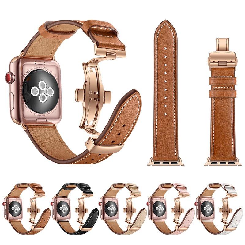 適用apple watch4表帶真皮金屬蝴蝶扣2345代蘋果手表帶小牛皮iwatch3表帶潮男女Series