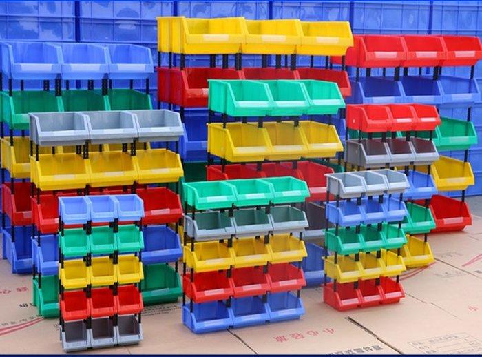 SX千貨鋪-加厚仓储货架箱子斜口零件组合式塑料箱螺丝盒组立式收纳盒小格子#綠色環保 #組合牢固 #超強承重