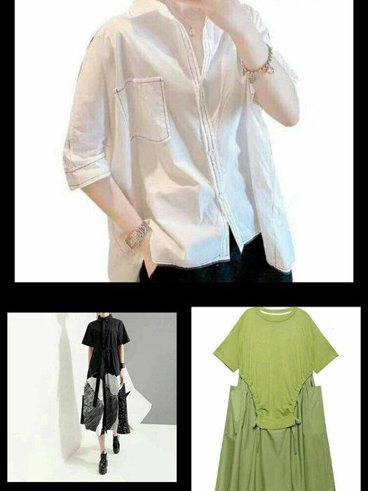 2020最新秋裝 綠色洋裝 襯衫領黑色花長洋裝 白襯衫