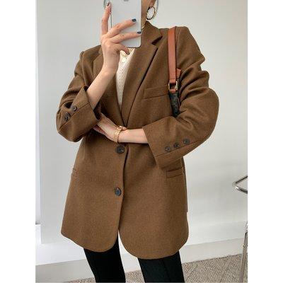 50羊毛呢韓系寬鬆休閒西裝外套 秋冬加厚棕色呢子小個子西服上衣 ♥ C Select Shop